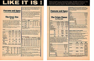 1968 Pontiac Gto & Firebird 400 / Features & Specs ~ Original 2-Pg Article / Ad