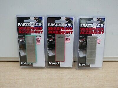 3 Trend Fast Track Diamond Stones Silver 100Grit Red 600Grit & Green 1000Grit