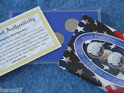 2000-P Philadelphia State Quarter Collection with COA and Box E0517