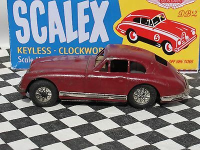 Scalex 1950's Aston Martin Tinplate Friction Car  #4  1:32 Used Boxed