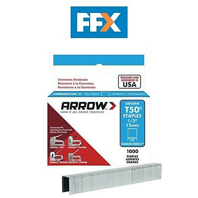 Arrow ARRT5014SS T50 Staples Box 1000 - Stainless Steel 504SS 6mm 1/4in
