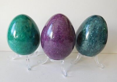 "Large 3"" Marble Onyx Egg Dark Green ,Mauve Or Jade Green + Free Display Stand"