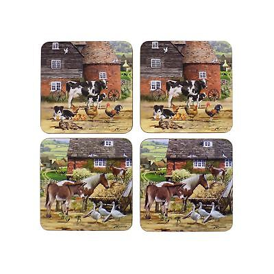 Set Of 4 Vintage Country Farm Animals Brown Laminated Cork Coasters 11X11X0.5Cm
