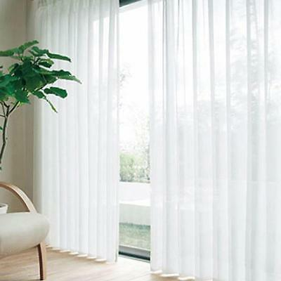 White Floral Tulle Voile Door Window Curtain Drape Panel Sheer Scarf Divider BC