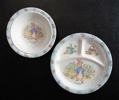 Eden 2 Piece Melamine Peter Rabbit Sectioned Plate and Bowl Set 1996