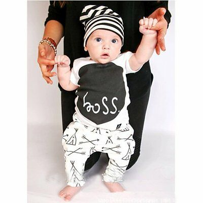 Toddler Kids Baby Boy Girls Outfits Clothes T-shirt Tops+Pants Trousers 2PCS Set