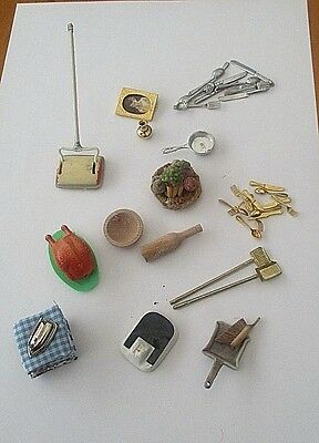 Collection Dolls House Accessories.- Cutlery, Sweeper, Brushes Etc.