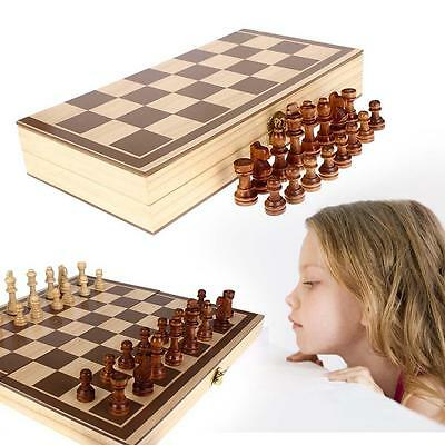 Vintage Wood Pieces Chess Set Folding Board Box Wood Hand Carved Gift Kid Toy BC
