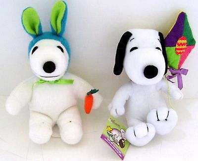 "2 Peanuts SNOOPY EASTER PLUSH DOLLS - 6"" - DETERMINED PRODUCTIONS & WHITMAN'S"