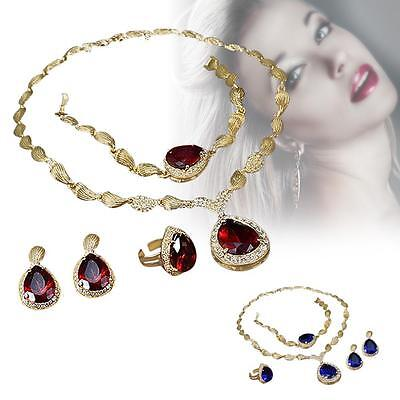 4PCS Jewelry Fashion Women Crystal Rhinestone Gold Chain Pendant Necklace Set BC