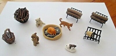Dolls House Accessories.- Collection Of Animals , Baskets, Wood  Baskets Etc