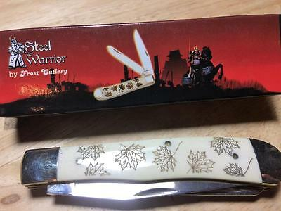 "Frost Steel Warrior Maple Leaf Trapper 4 1/8"" Pocket Knife FSW108WSBML"