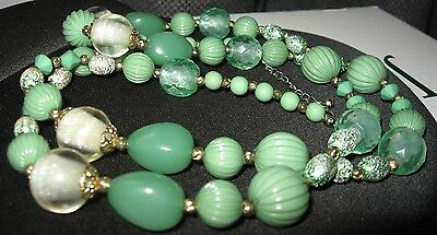 "Grandma's Vintage green beaded shimmery costume jewelry necklace clasp18"" drop"