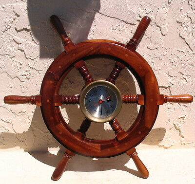 Vintage Nautical Ships Wheel Maritime Clock Working