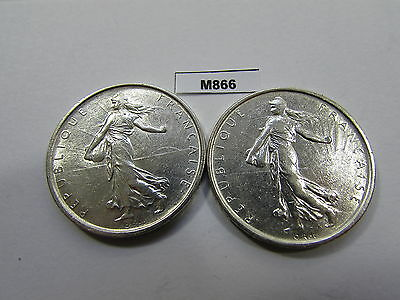 France 1963 + 1964 5 Francs 2 Silver Coins - M866