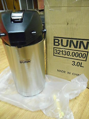 NEW IN BOX  BUNN 3 Liter Lever Action Coffee Airpot Stainless Steel / Black