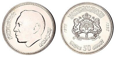 JA.79) MOROCCO 50 dirhams 1975 / 20th Anniv. of Independence / Silver / UNC-
