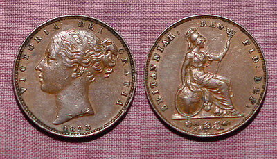 1853 QUEEN VICTORIA COPPER FARTHING - Unbarred A's BRITANNIAR + Errors