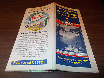 1941 Esso North and South Carolina Vintage Road Map