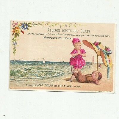 Middletown Conn Allison Brothers' Soaps Victorian Advertising Trade Card Beach