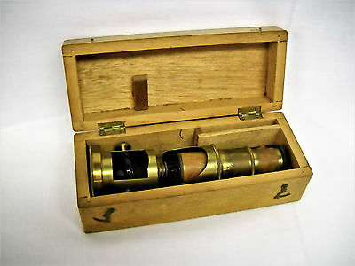 Antique Brass FIELD/TRAVEL MICROSCOPE W.WOOD BOX-MADE IN FRANCE-GOOD-NR