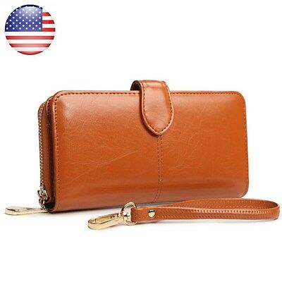 Brown Women Leather Wallet Long Zip Purse Ladies Card Holder Case Clutch Handbag