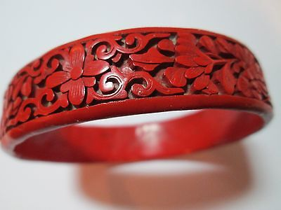 Antique Deeply Carved Chinese Red Cinnabar Bangle Bracelet  ~ Unusual Shape