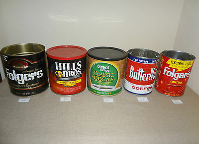 CHOICE of Empty Coffee Cans Folgers, Hills Brothers, Butter-Nut etc. A - L