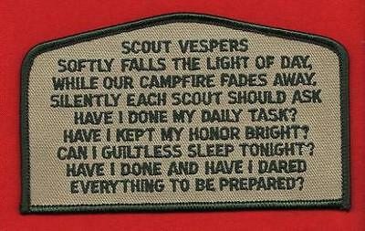 SCOUT VESPERS CSP OA FLAP Patch BSA Cub Scouts of America Boy Scout Song