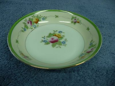 Vintage Hand Painted Japan Small Round Bowl With Flowers Gold & Green Rim
