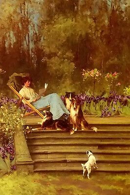 Oil painting arthur wardle - among friends young lady w ith pets dogs in spring