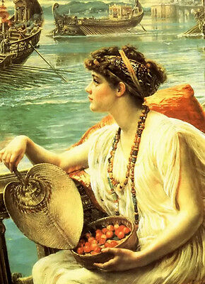 """Oil painting Edward John Poynter - a roman boat race lady with fac by river 36"""""""