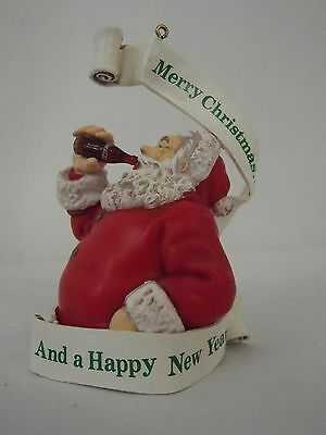 COCA-COLA Christmas Tree Ornament Coke 1990 Merry Christmas and a Happy New Year
