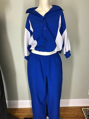 Vtg 80s HIPSTER Blue & White 2 PIECE ColorBlock Zip TRACK SUIT Hip Hop DANCE M/L