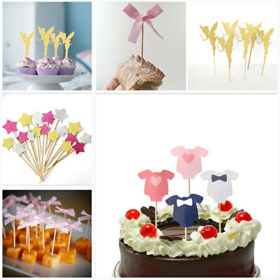 10pcs Birthday Cupcake Toppers Bowknot Love Party Decor Baby Shower Wedding Cake
