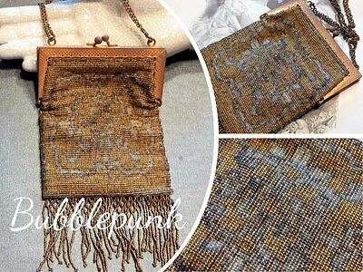 Antique Cut Steel Micro Beading Frame Purse ~ Hand Made in France