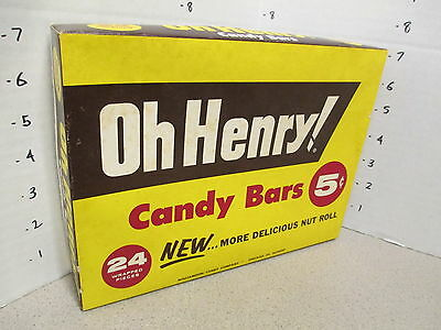 OH HENRY candy bar 1950s Williamson store display box chocolate nuts 24ct 5 cent