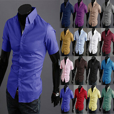 Business Men's TOP Luxury Casual Formal Shirt Short Sleeve Slim Fit Dress Shirts