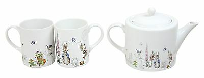 Beatrix Potter Peter Rabbit Blue Grey White Porcelain Mugs & Tea Pot