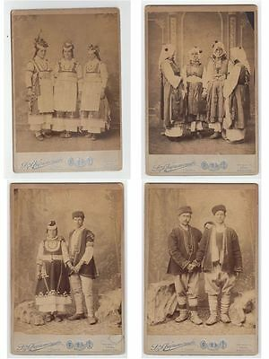 BULGARIA, FOLKLORE TYPES 6 x CDV VINTAGE PHOTOGRAPHIC IMAGES