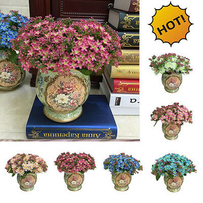 72 Head Rose Fake Artificial Silk Flower Wedding Party Bridal Bouquet Home Decor