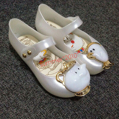 Beauty & Beast Mrs Potts & Chip TODDLER Shoe Teacup Kids Girls Mini Jelly Shoes