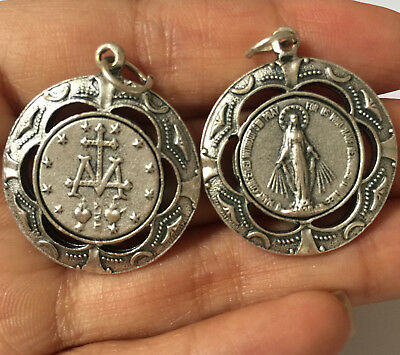 Lovely Silver Catholic mary magdalene Relic medal Rosary PENDANT Italy