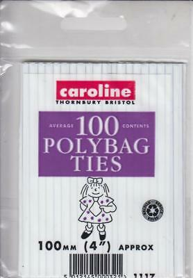 Caroline Pack Of 100 Polybag Ties Polythene Bag Closures 100mm 4 Inch Approx