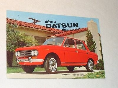 Old Drive A Datsun Then Decide Car Automoble Advertising Brochure Ad