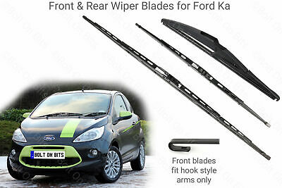 Front Rear Wiper Blades Ford Ka Mk  Tdci Hook Style Arms Only
