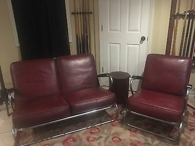 Antique Vintage Kem Weber Style Art Deco Tubular Chrome Red Loveseat & Chair Set