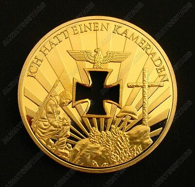 World War II Germany Martyr Soldier Hollow Cross Gold Plated Coin Souvenir Token