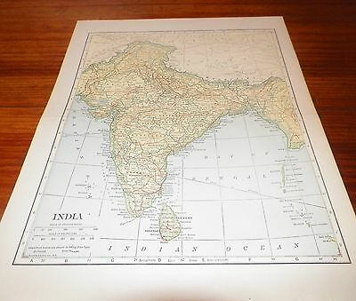 Old Vintage Antique Map India L.L. Poates Engr'g Co. N.Y. Railways Canals