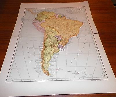 1907 Antique Map South America LL Poates Engr'g Co./Dodd Mead & Co. Railways